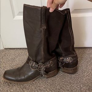 Dark Brown Leather Boots With Contrast Stitch